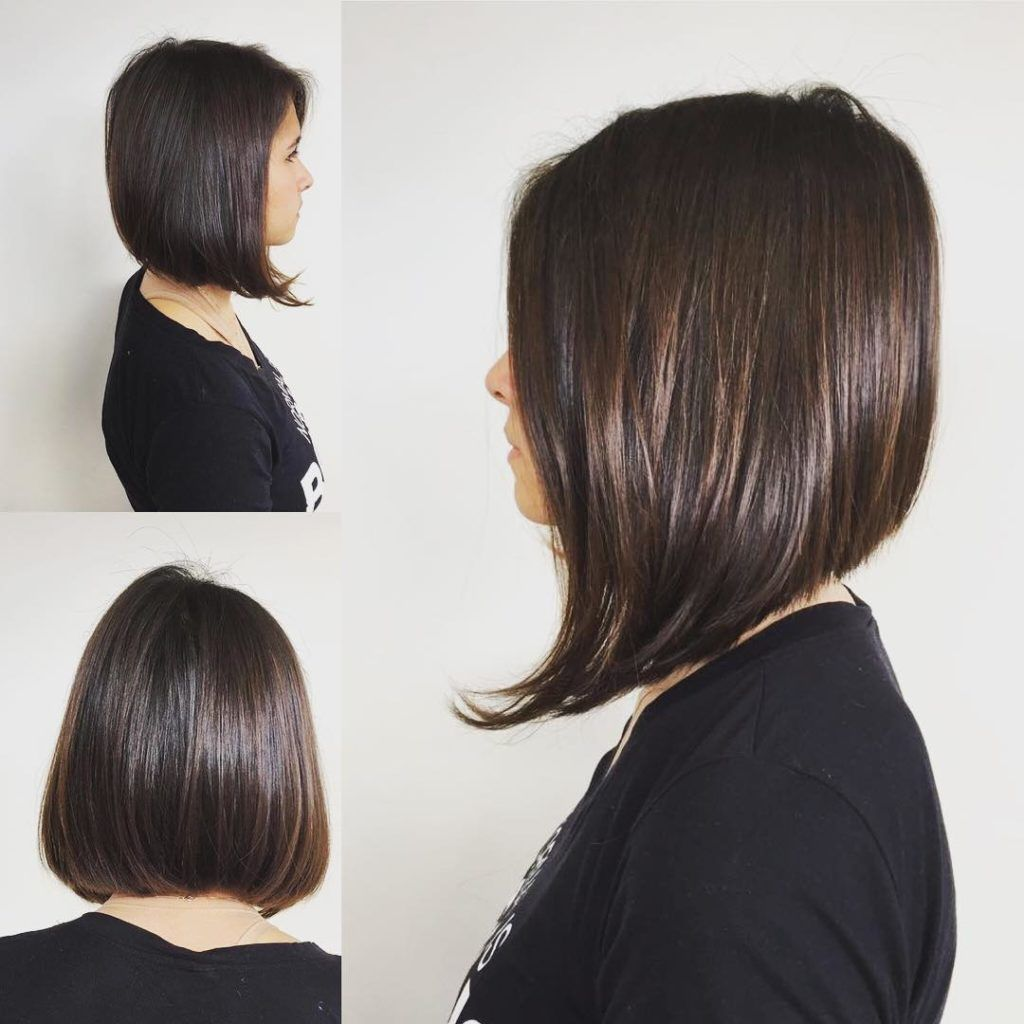 Sleek And Straight A Line Bob On Brunette Highlights Hair It Is In