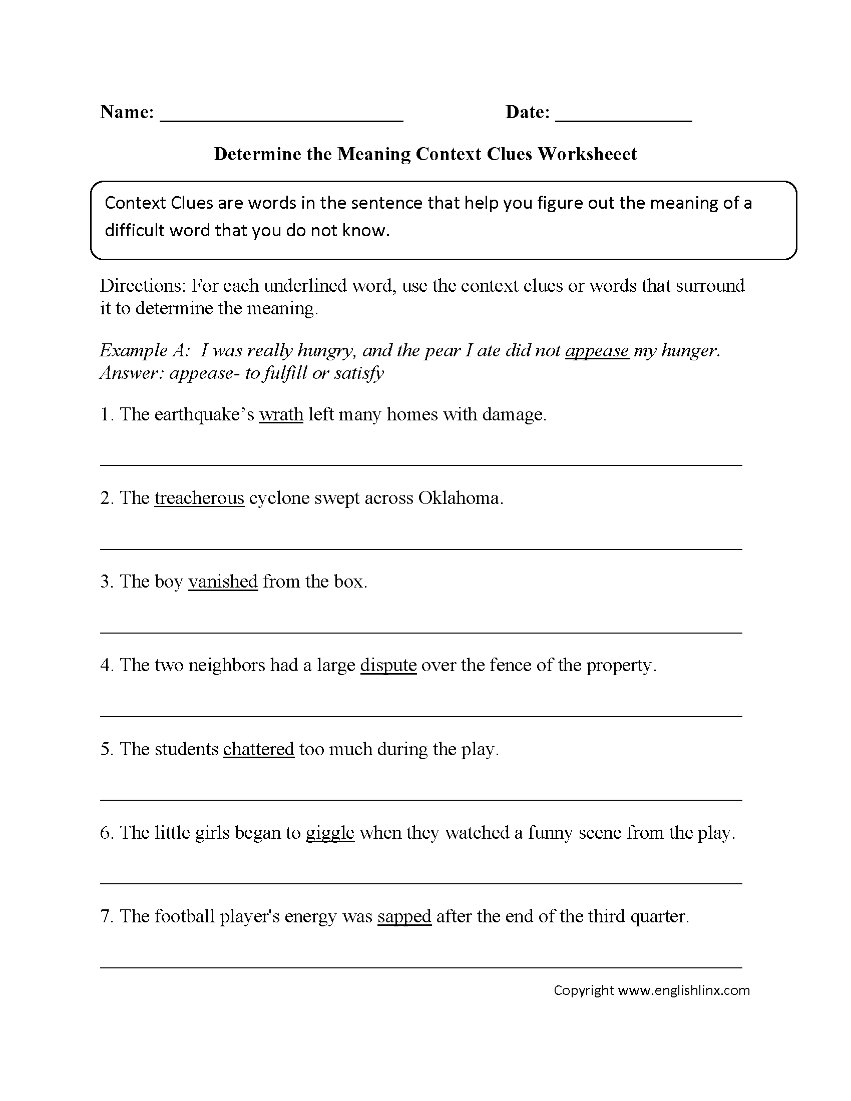 Determine The Meaning Context Clues Worksheet