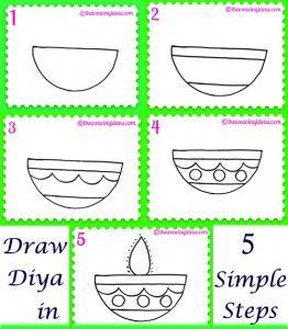 Diwali Diya Drawing In 5 Steps Weaving Ideas Diwali For Kids Diwali Drawing Diwali Craft