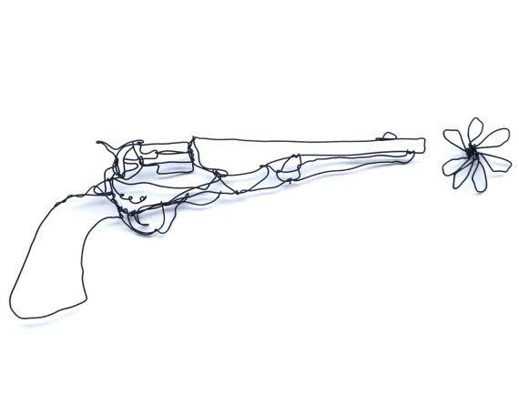 Wire wall art, Gun, Wire Sculpture, Home décor, Unusual gun | Wire ...