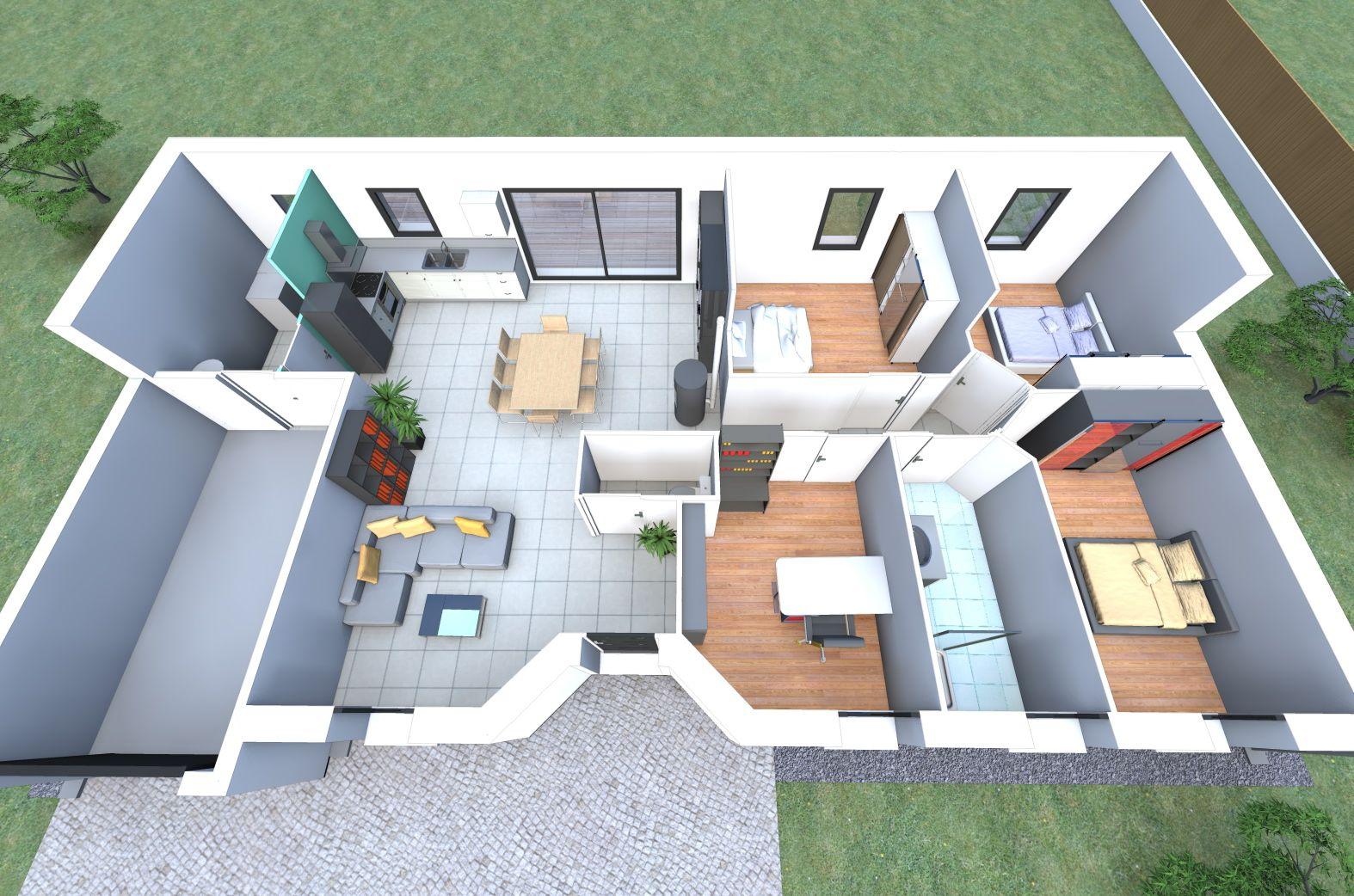 Plan 3d d 39 un de nos mod les de maison avec 4 chambres un for Prix construction maison 3 chambres