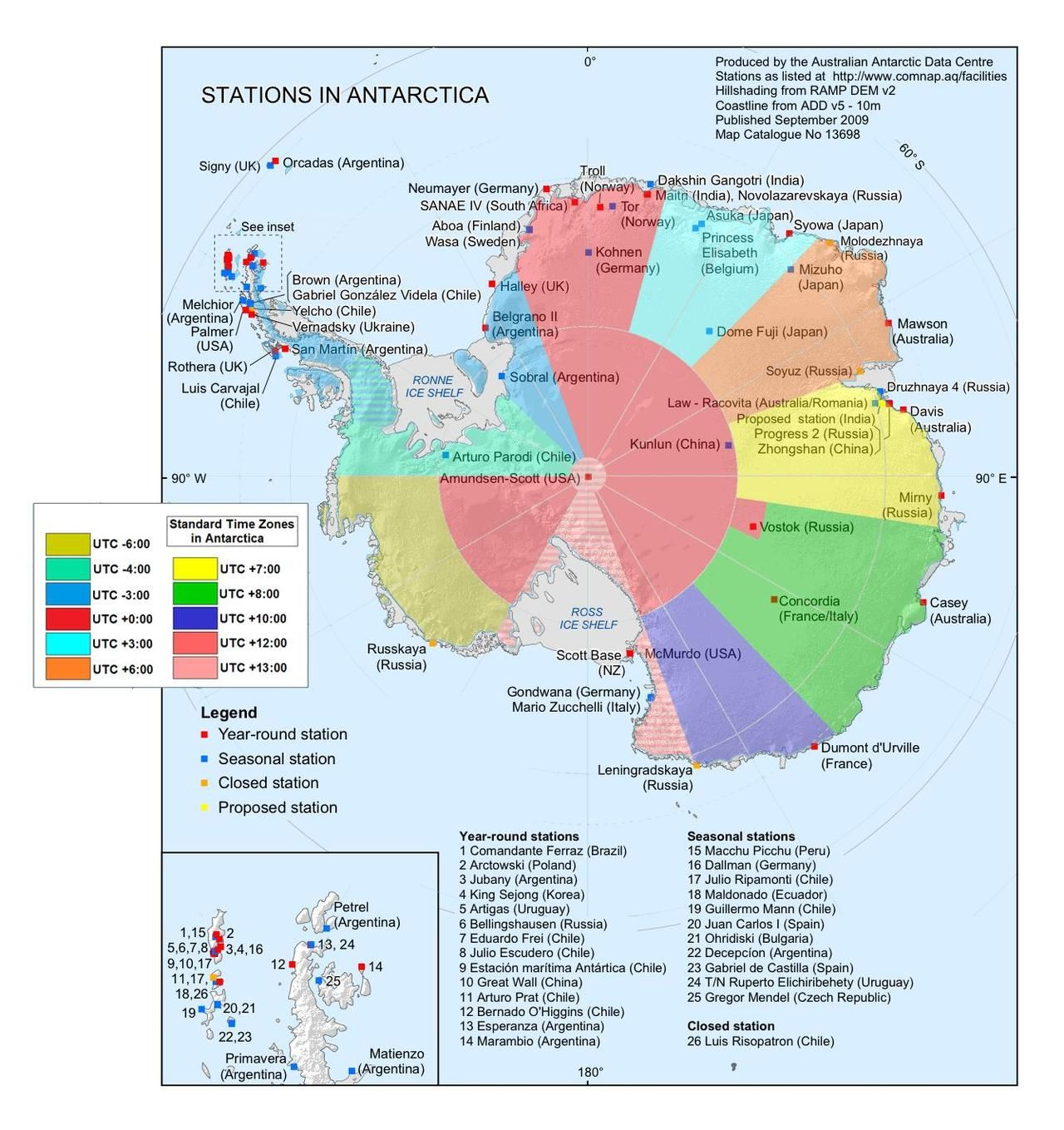 Map of Time Zones Research stations in Antarctica On A Need To