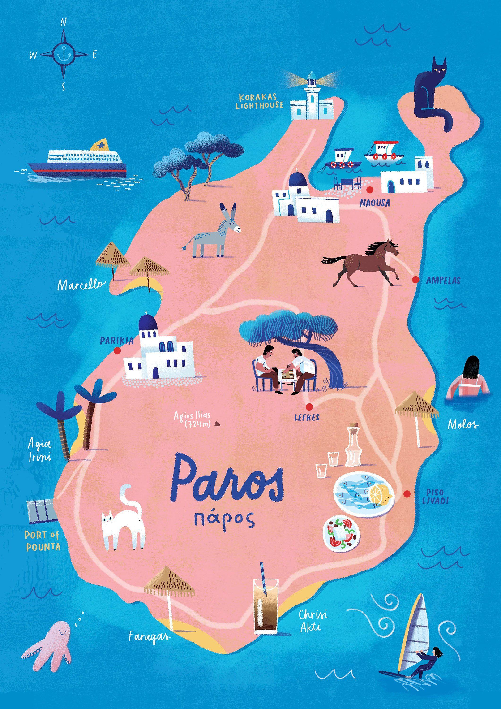 Illustrated map Paros, Greece, Greek island, Paros map, Parikia, Naoussa, Mediterranean, coral, blue, pink, travel art, Greek map art