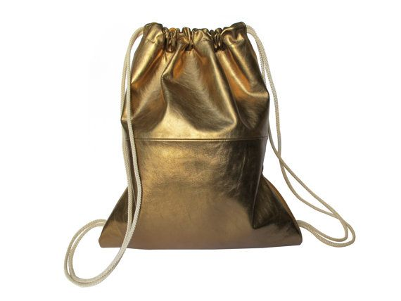 Metallic Gold Leather backpack purse - metallic leather bag SALE ...