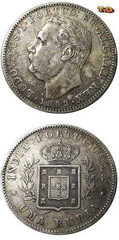N♡T. 1882 Portuguese India, GOA - Silver 1 Rupee - King Luíz I