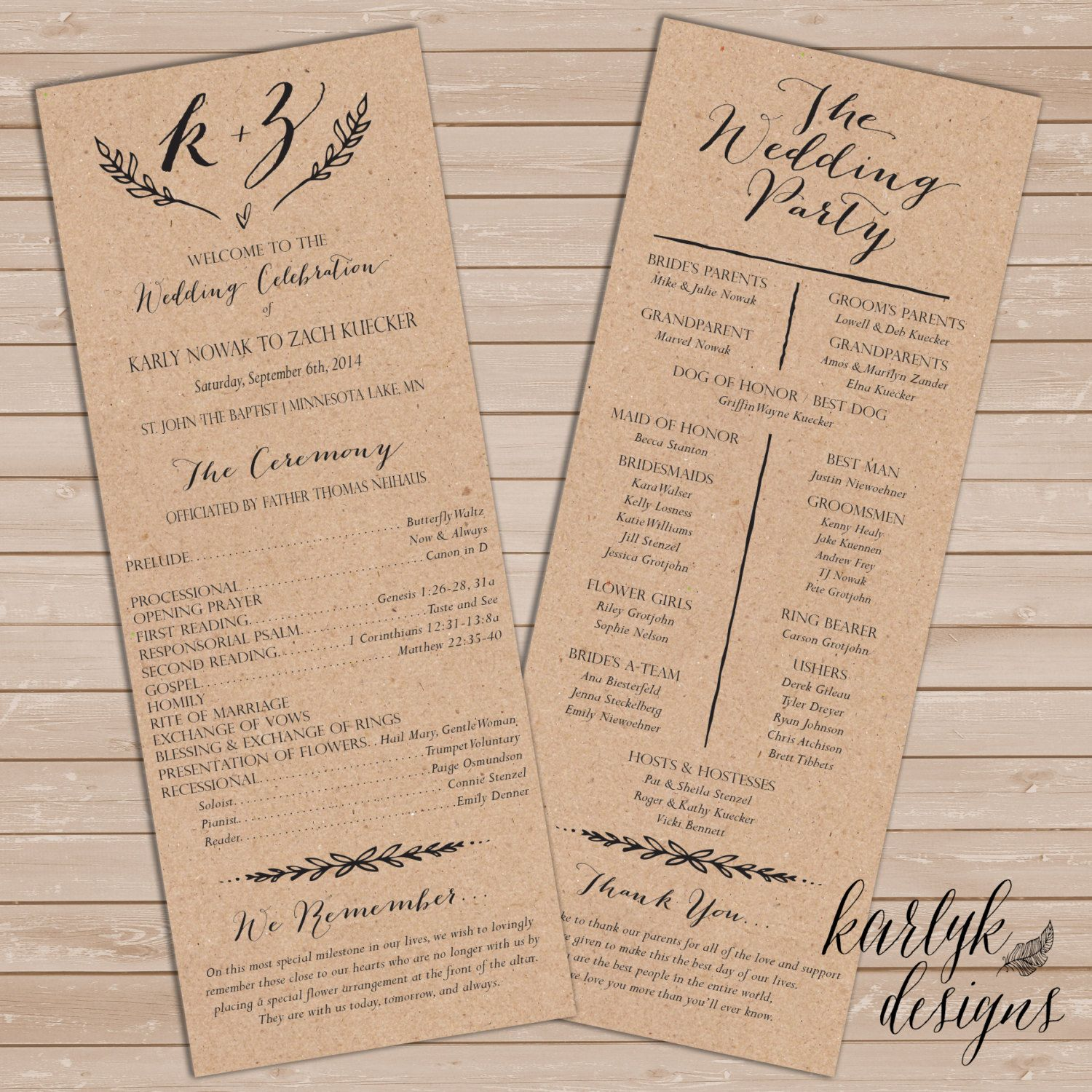 Rustic Wedding Program Template, Rustic Wedding Programs Instant ...