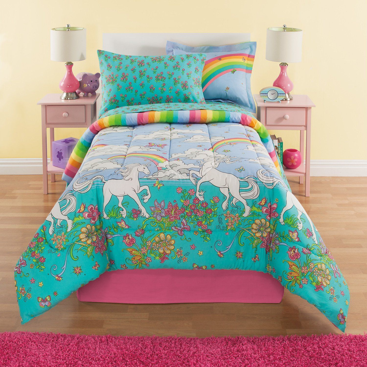 rainbows u0026 unicorns girls full comforter set 8 piece bed in a bag