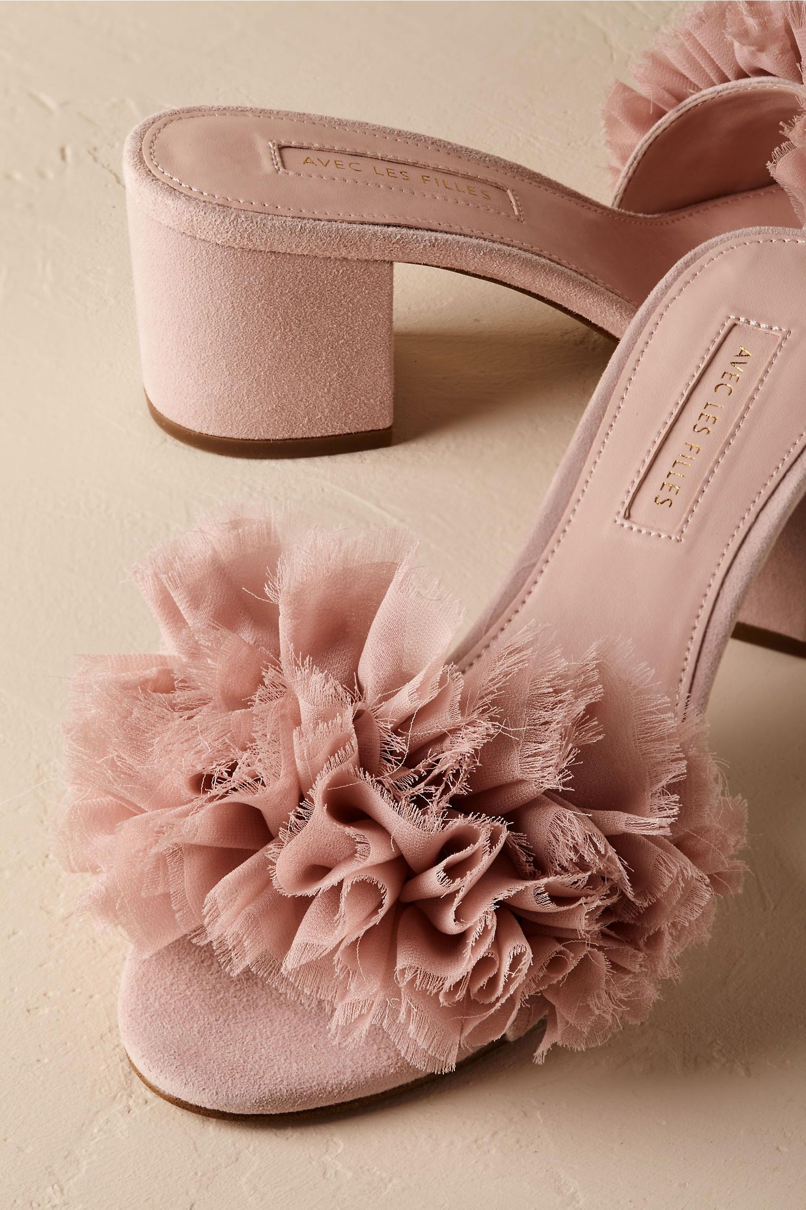 bhldn shira ruffled slides in bride bridal shoes accessories