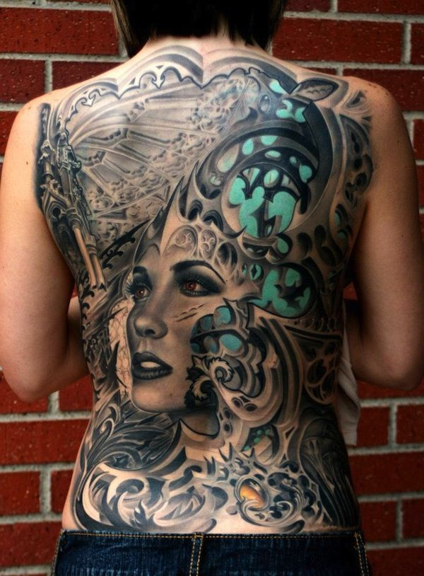 Full Back Biomechanical Tattoo With A Woman S Face