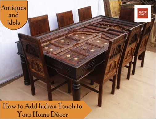Idols Of Deities Are Typical Indian Touch To Any Home Traditional Doors And Window Panels Look Qu Antique Dining Tables Wooden Dining Tables Door Dining Table