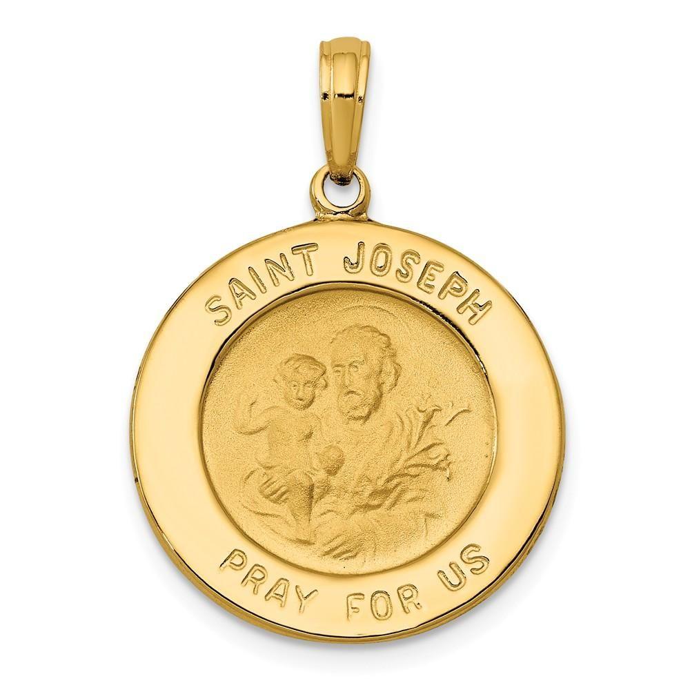 Solid 14k Yellow Gold St Joseph Prayer Pendant Oval Medallion Charm Religious