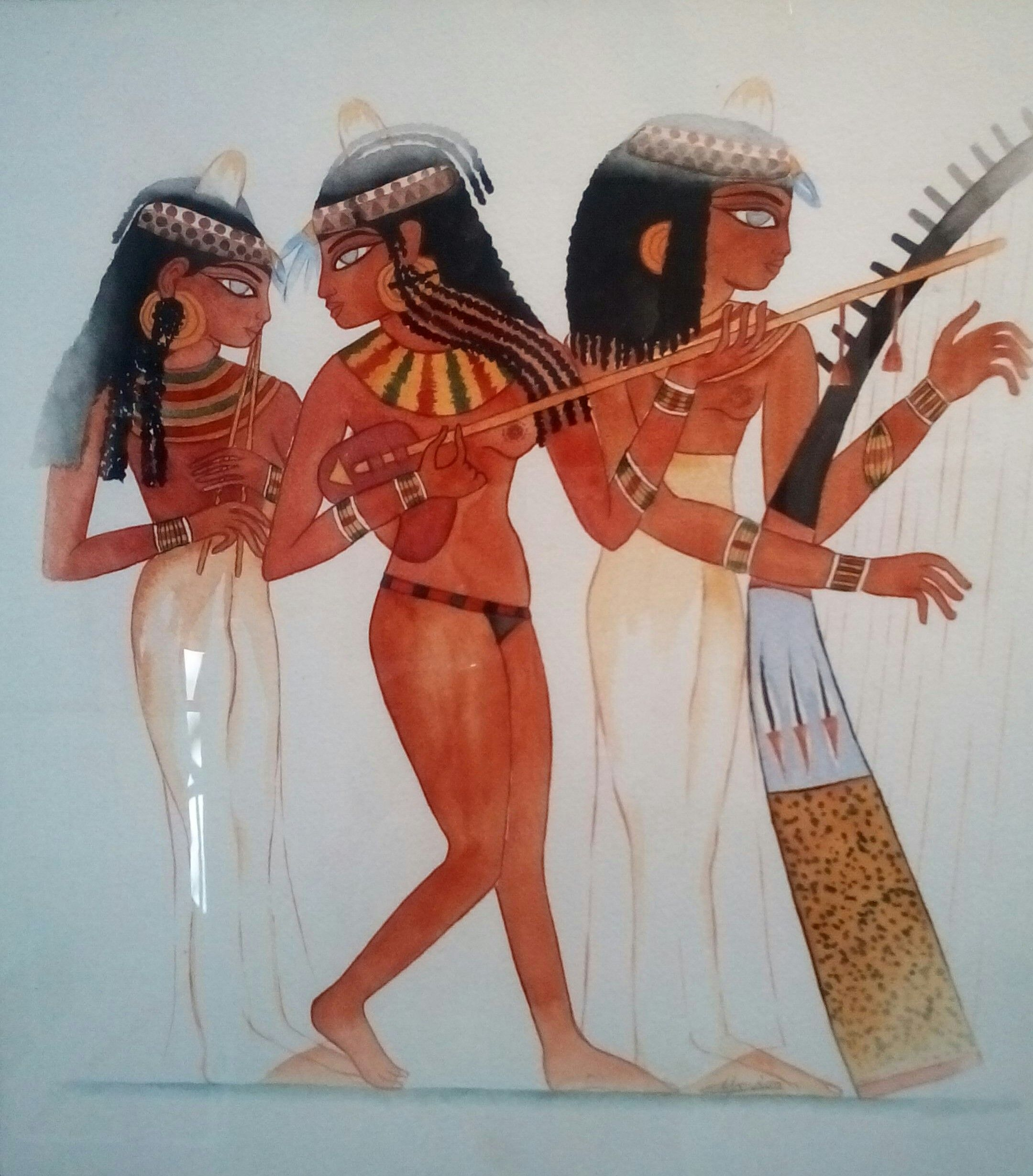Les 3 musiciennes égyptiennes. Aquarelle, Christine Monsion