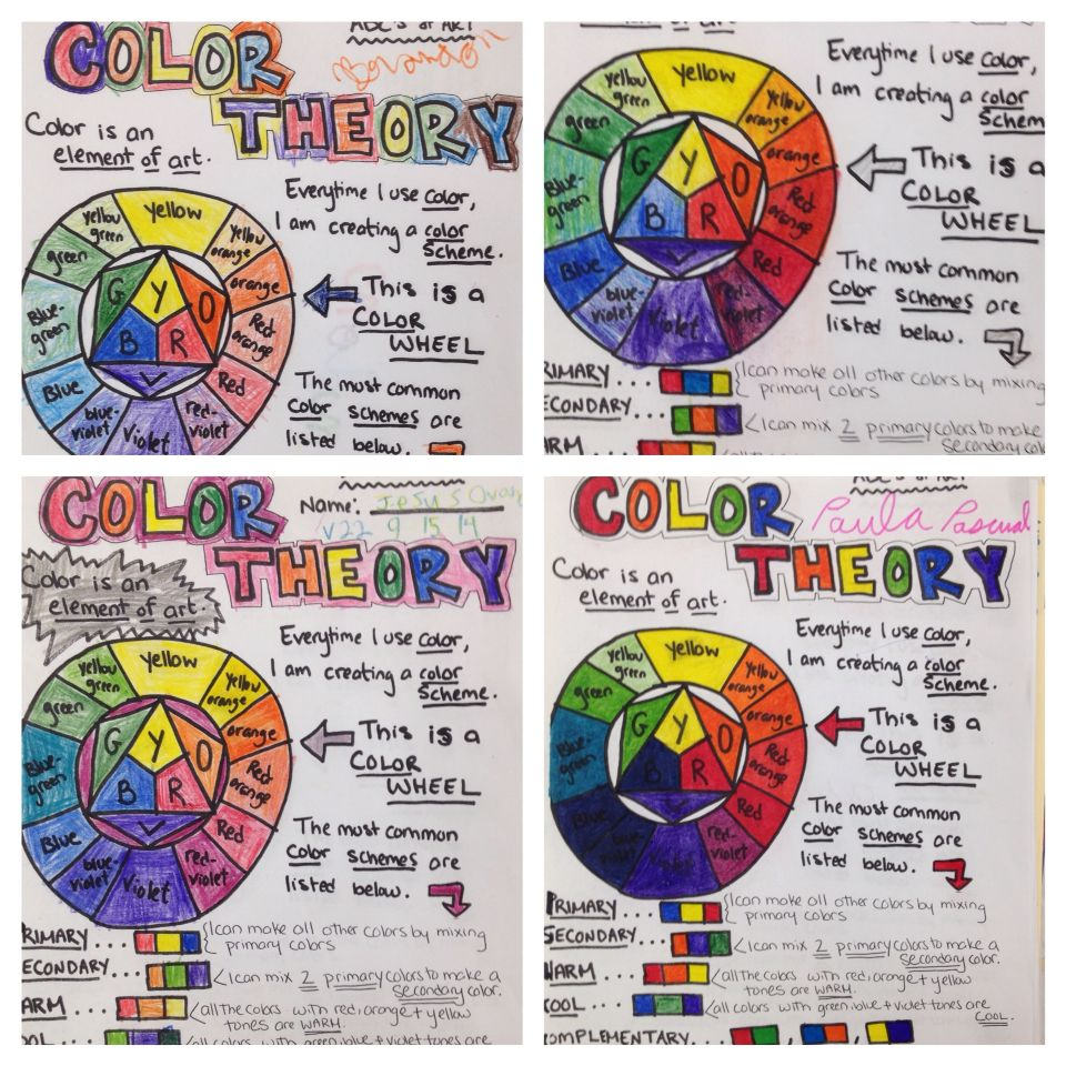 Color Theory Worksheet Art Lesson Special Education Visual Arts Primary Secondary