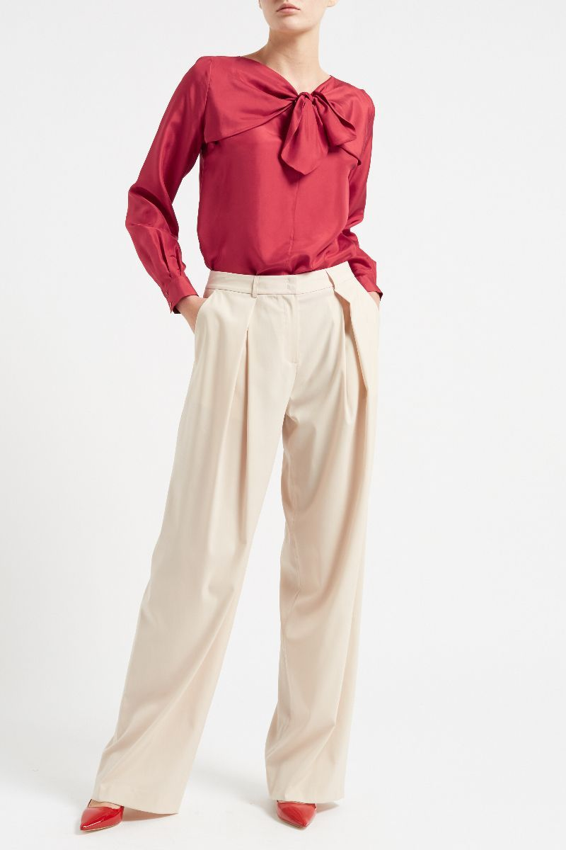 06ed2d35 Sabina Silk Bow Top Red - WTR London | Style Icons | Bow tops, Silk ...