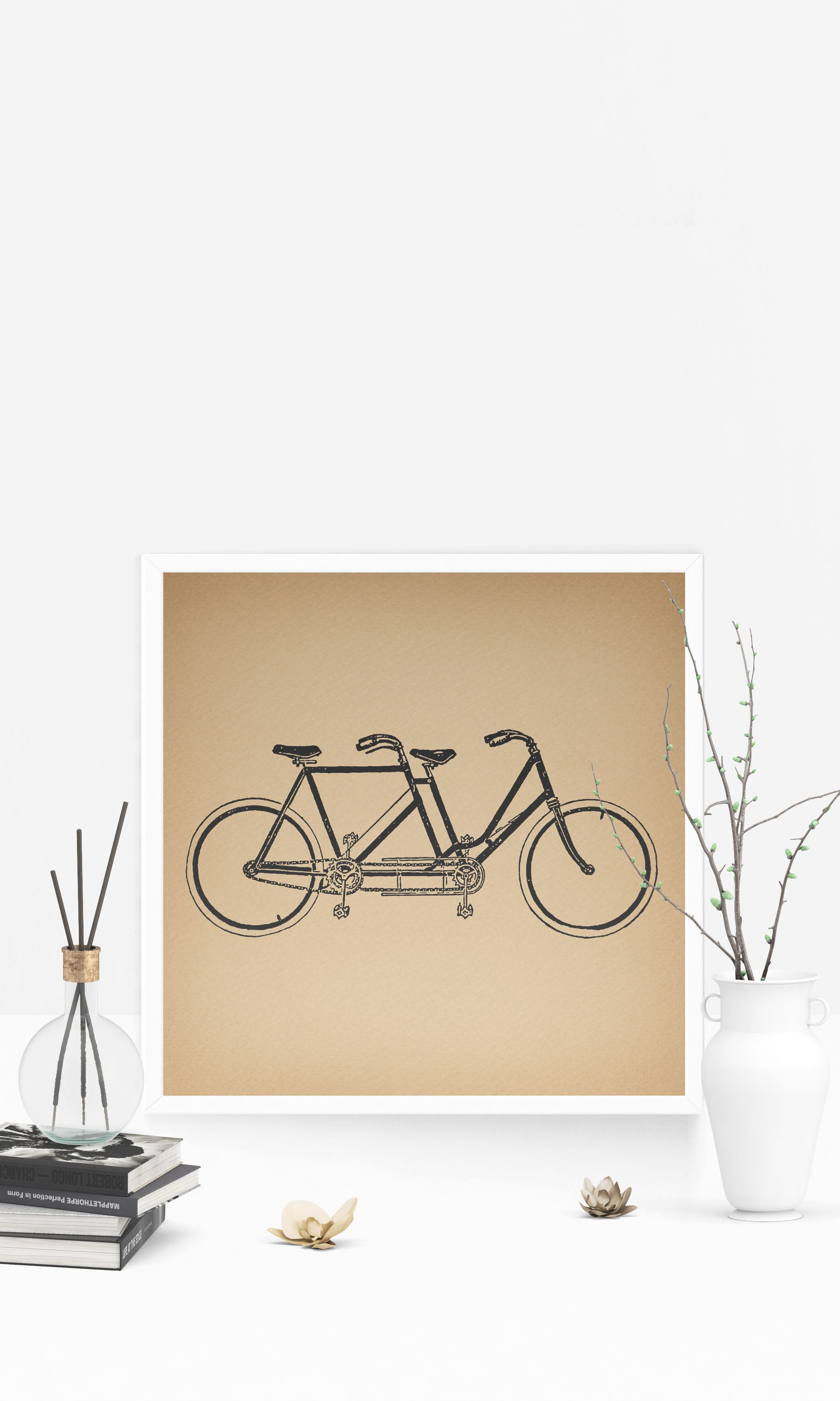 Vintage tandem bicycle print two seat bike two person bicycle