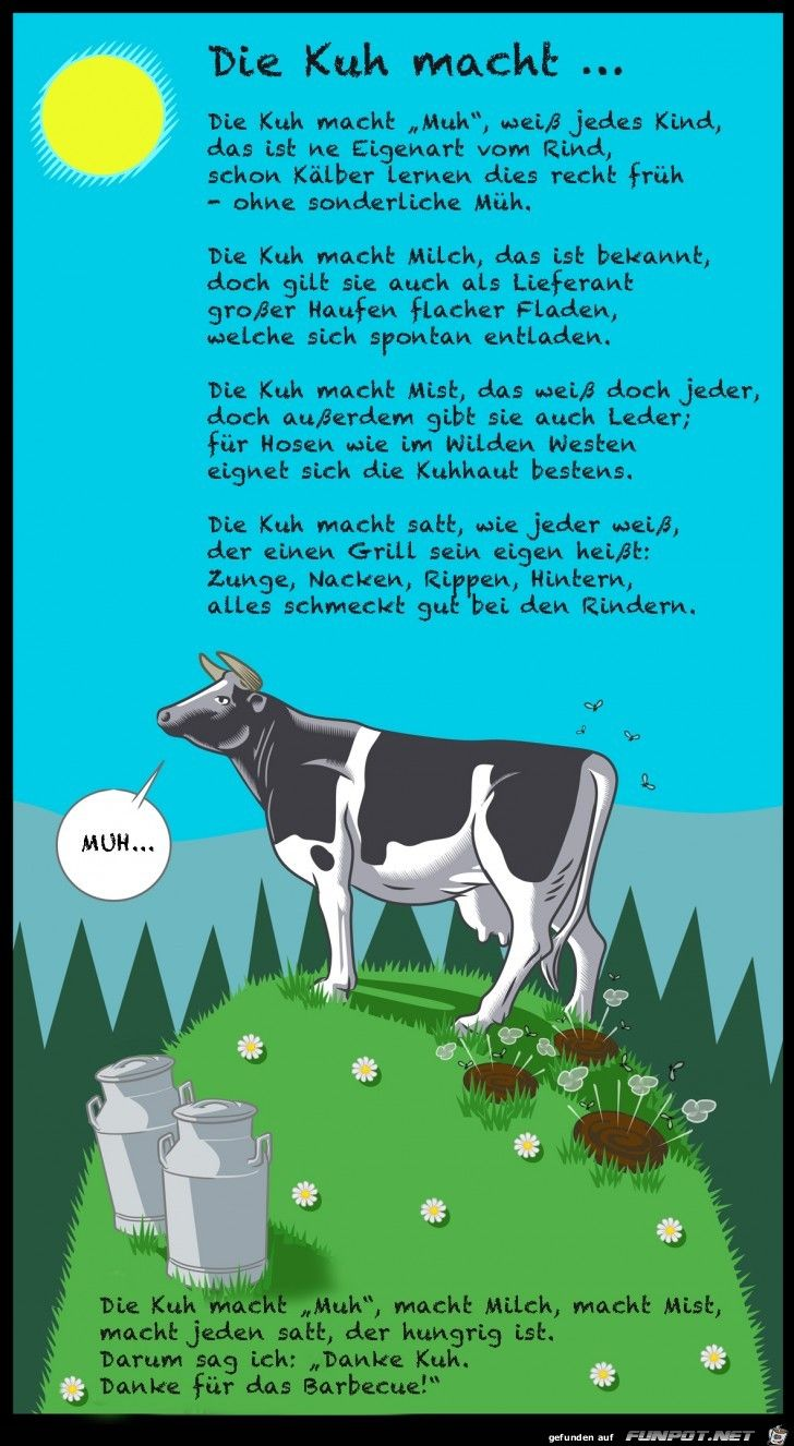 Die Kuh Macht Muh Kuh Kuh Illustration Reime