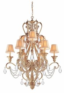 6709-CM Crystorama Winslow 24% Lead Crystal Wrought Iron Handpainted Chandelier