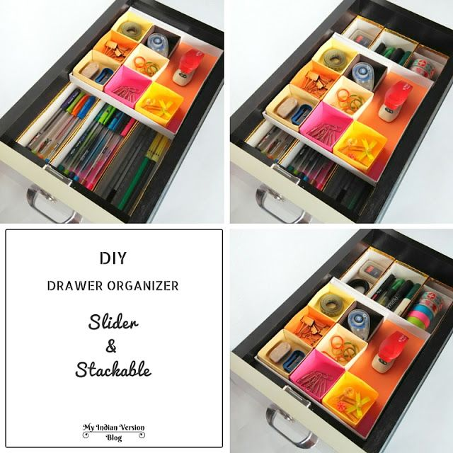 Diy Office Supplies Stackable Drawer Organizer Which Slides Diy Drawer Organizer Deep Drawer Organization Office Drawer Organization