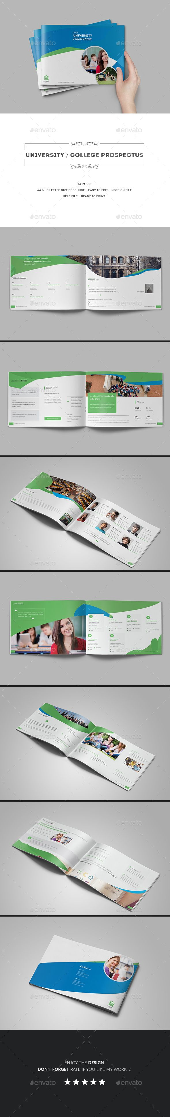 University  College Prospectus Brochure Template Indesign Indd