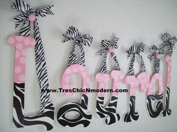 Cute zebra name girls room pinterest shower gifts for Cute zebra bedroom ideas