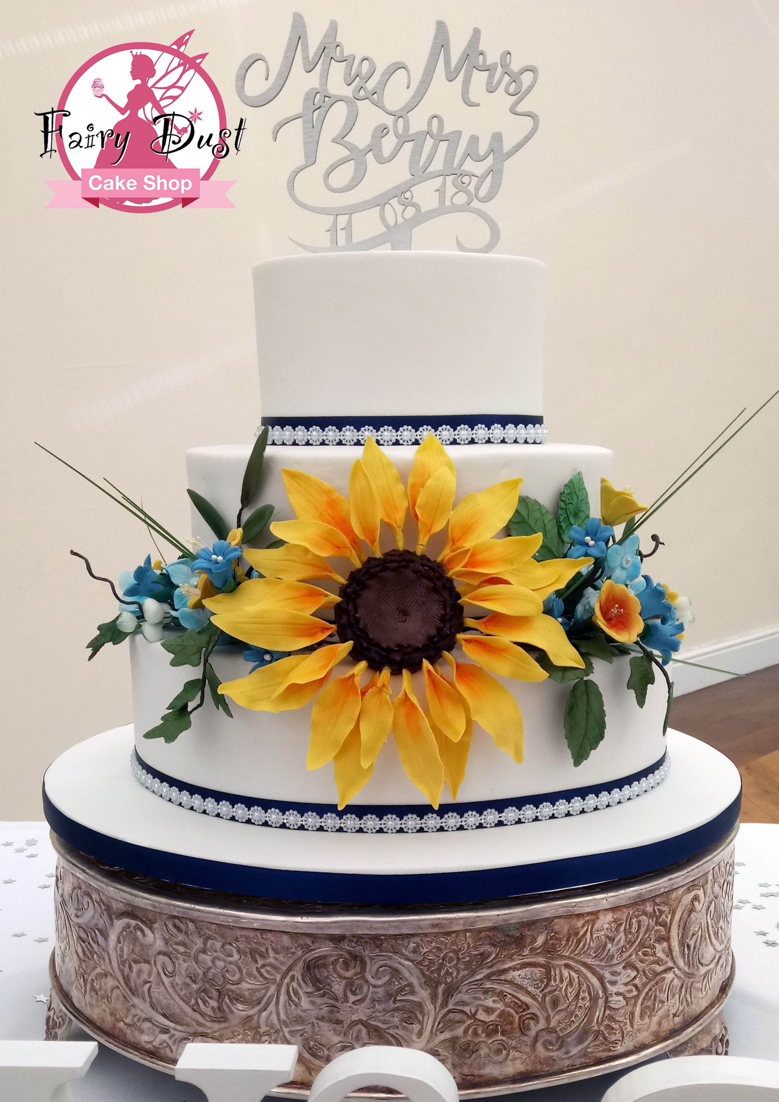 Sunflower Wedding Cake. Congratulations to Victoria and