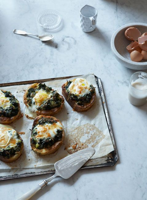 spinach, feta, and egg on bread