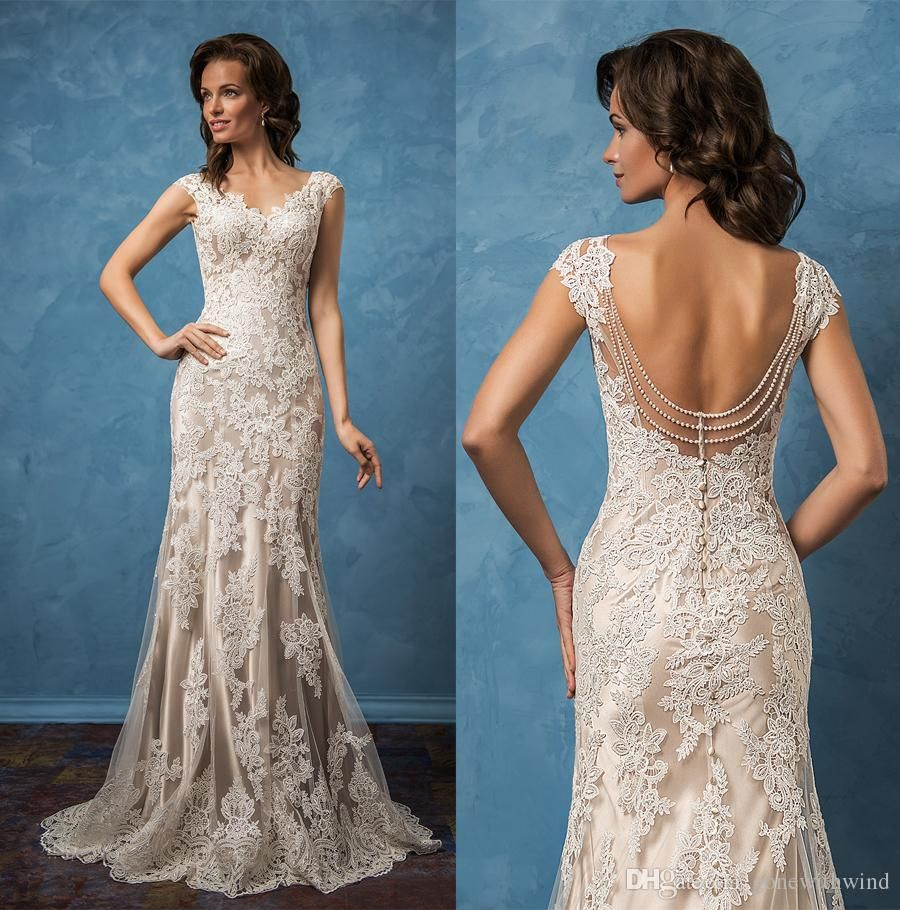 Backless mermaid wedding dresses 2017 amelia sposa bridal gowns cap ...