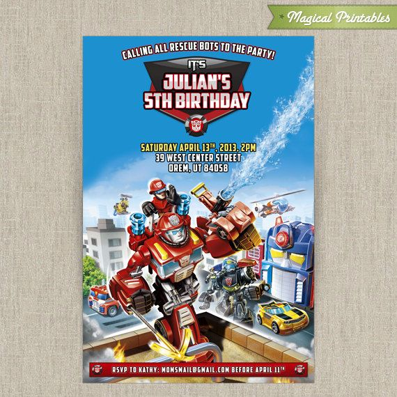Personalized TRANSFORMERS Rescue Bots Birthday Invitation Card – Transformer Party Invitations
