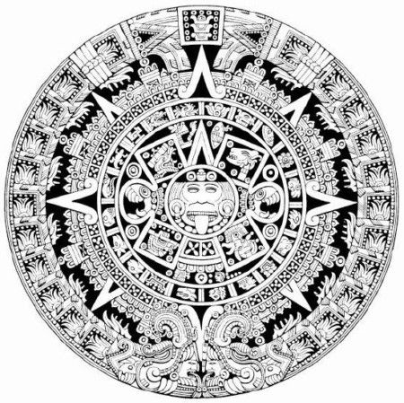 Aztec Calendar Detailed Coloring Page From Getvector Aztec