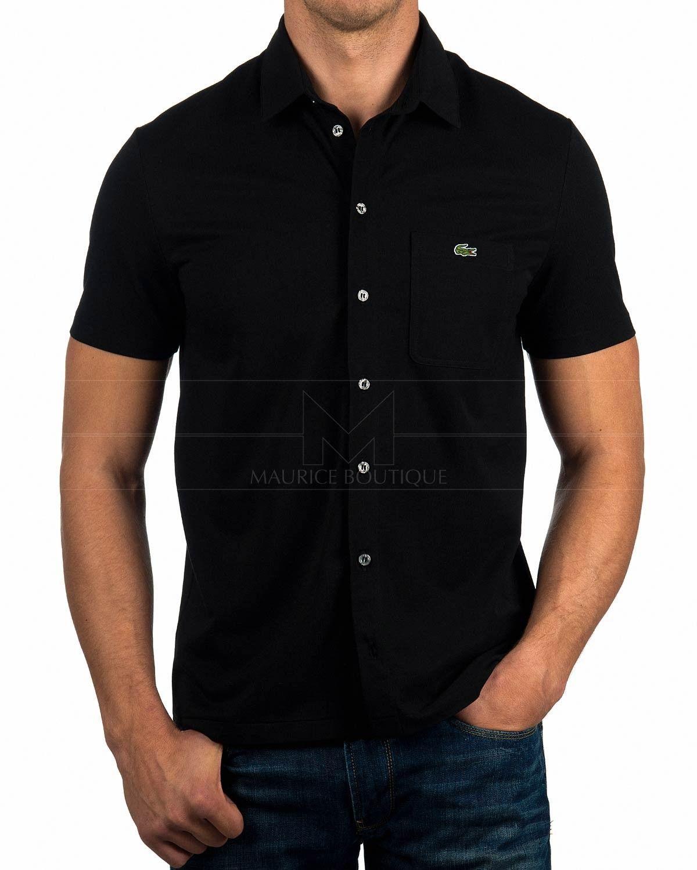 9494cdfa0a44f Camisa Lacoste ® Manga Corta - Negra   ENVIO GRATIS   CASUAL ...