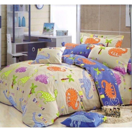 2242e8647 Detské posteľné obliečky béžovej farby s dinosaurami | Pestré detské ...