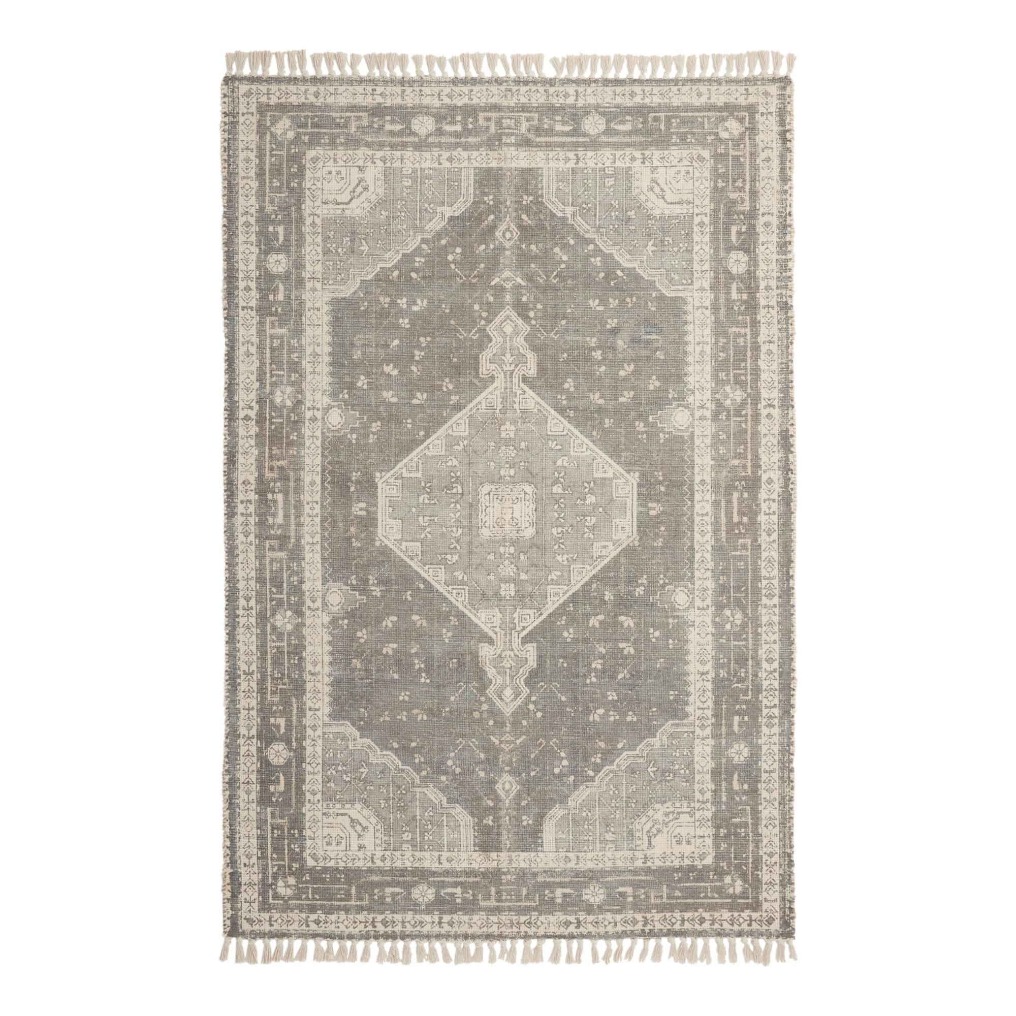 Gray And Ivory Persian Style Cotton Lexington Area Rug 8ftx10ft By World Market Area Rugs 5x8 Area Rugs Rugs