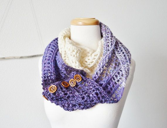 Women's Infinity Scarf / Button Up Cowl  Ombre Purple by awkward, $118.00