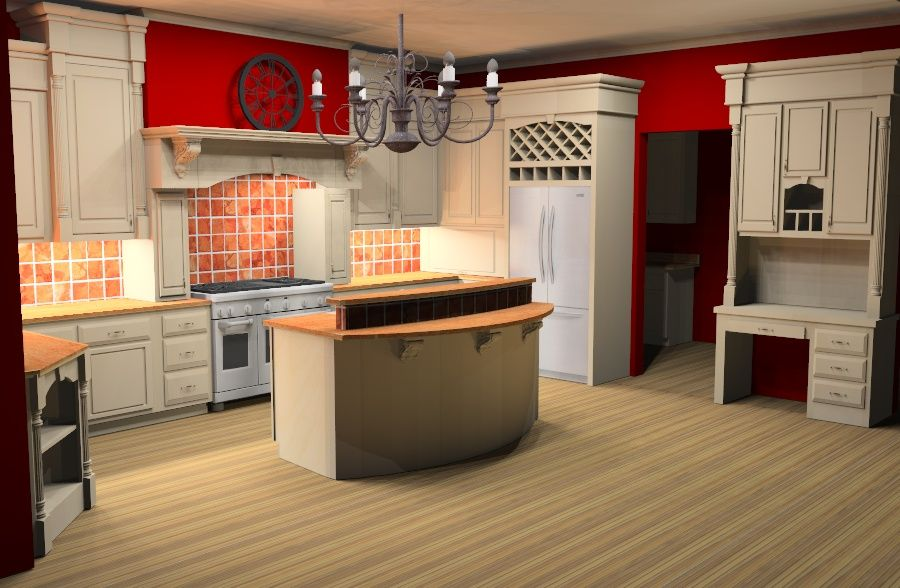 Harbor Ridge Kitchen layout done in Mozaik, rendered in SketchUp ...