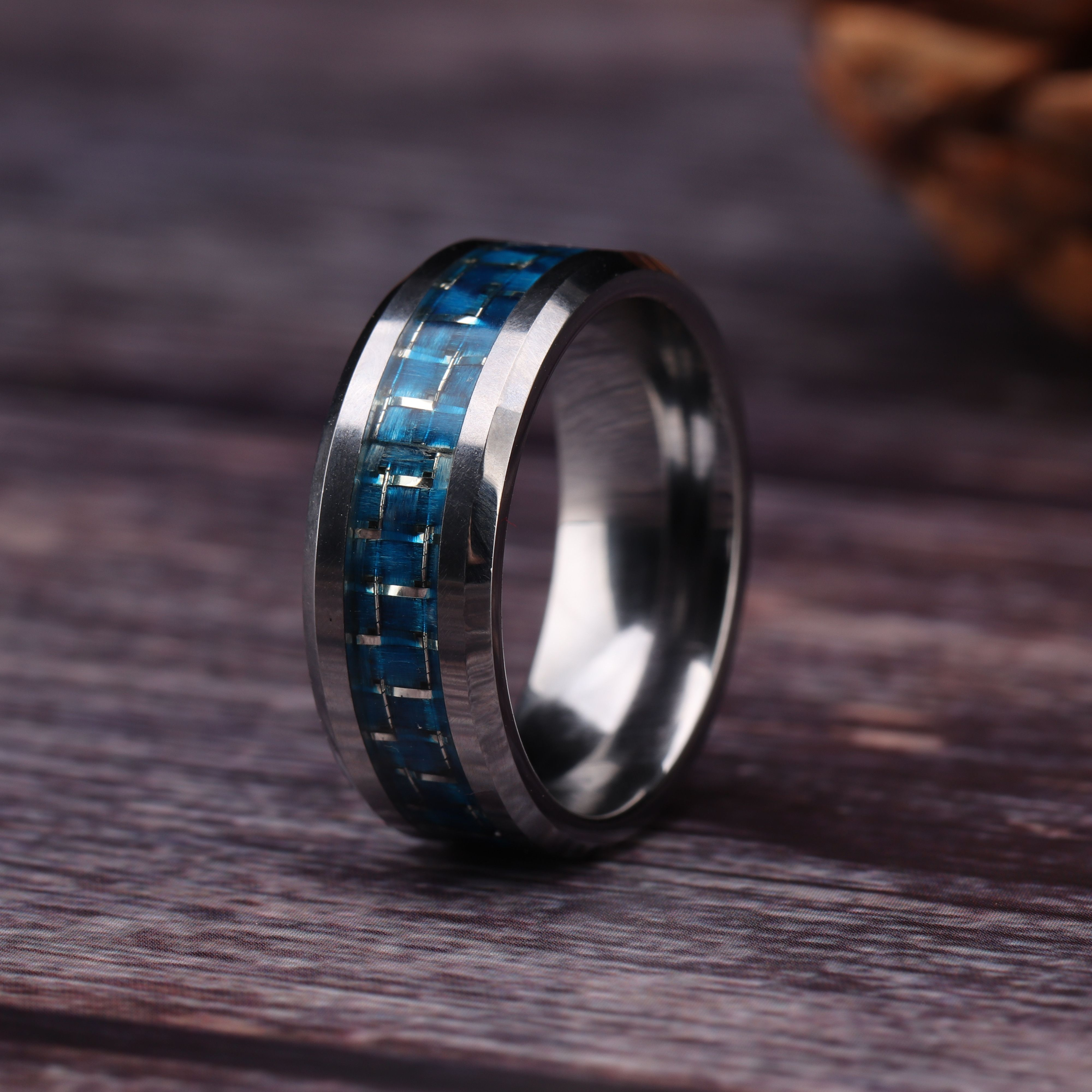Blue Carbon Fiber Tungsten Engagement Rings Comfort Fit in