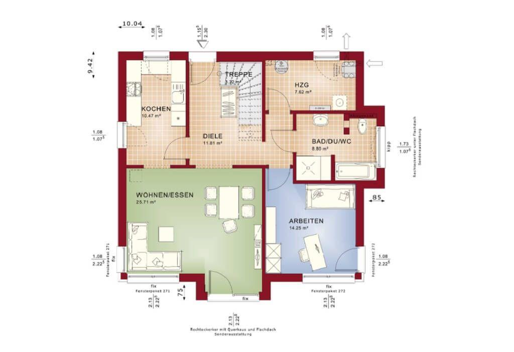Grundriss Einfamilienhaus Erdgeschoss Wohnzimmer Mit Galerie, Luftraum    Haus Celebration 150 V4 Bien Zenker Fertighaus Ideen   HausbauDirekt.de