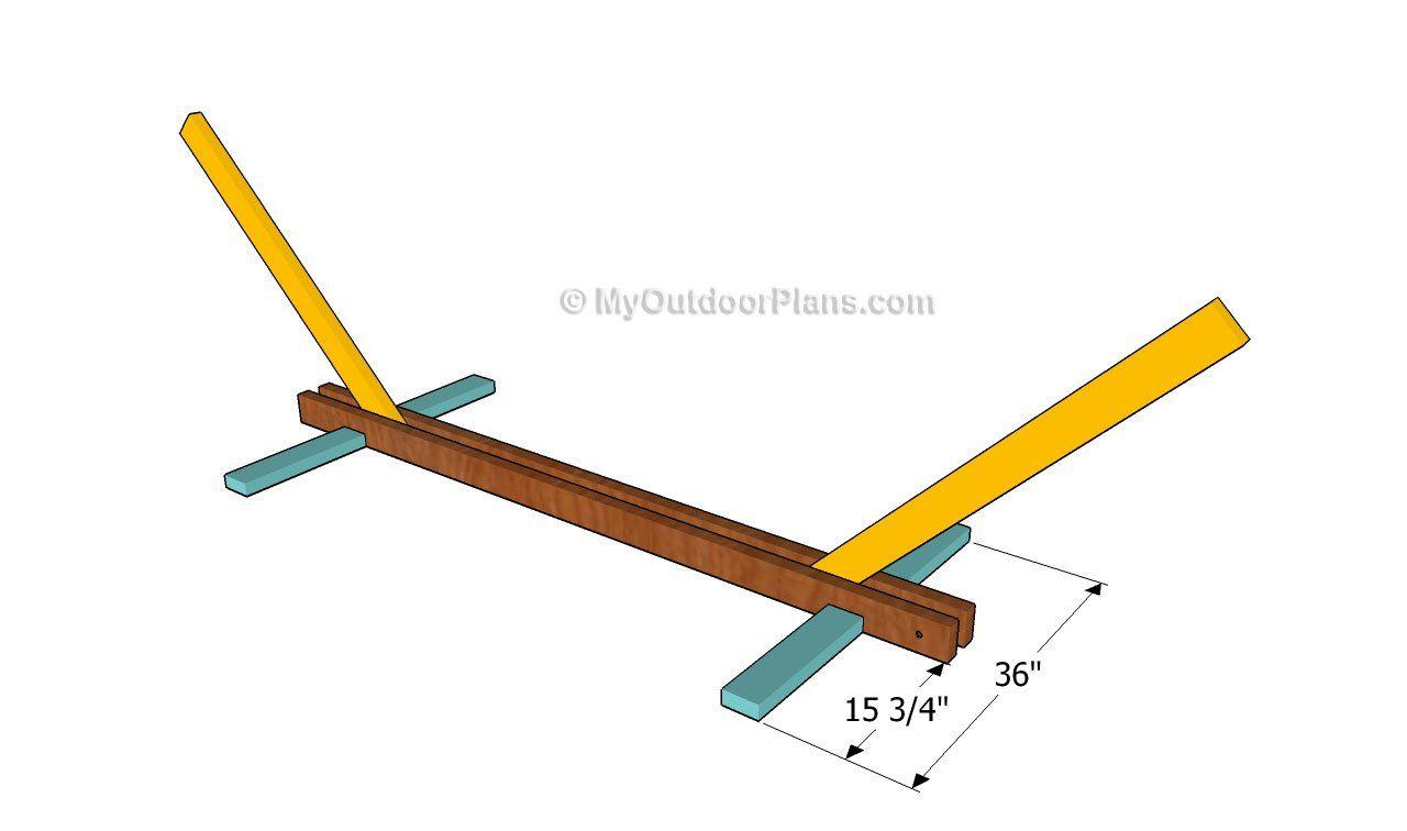 Installing the base swing pinterest hammock stand wooden