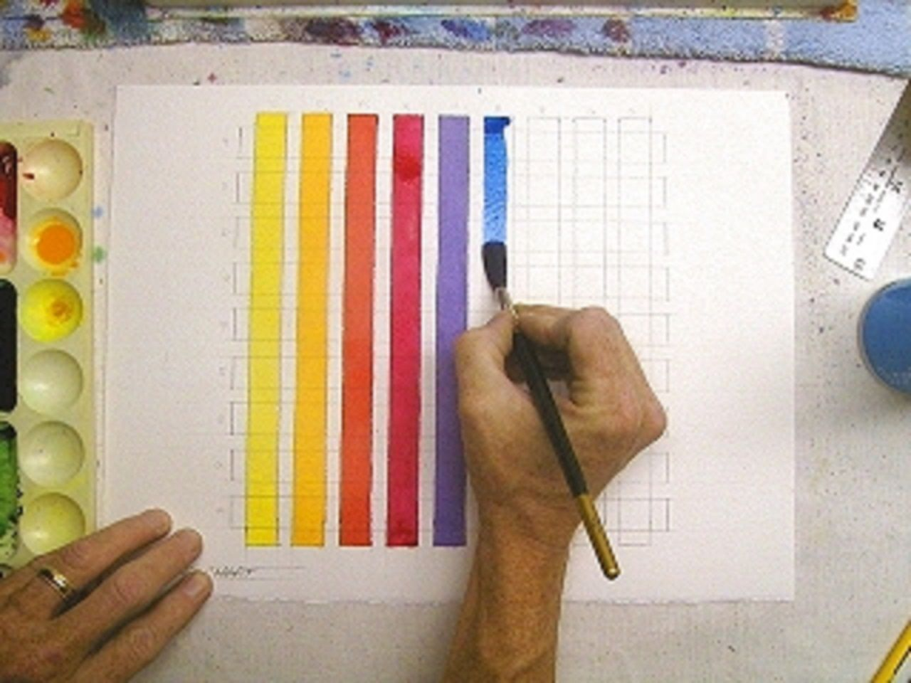 Watercolor Technique For Testing Colors With A Color Grid