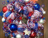 Patriotic Mesh Wreath