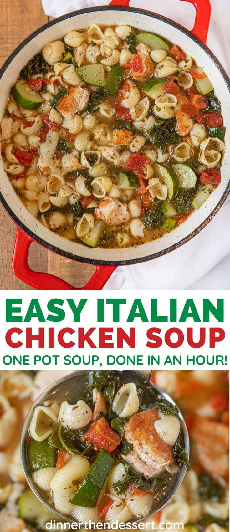 Photo of Easy Italian Chicken Soup Recipe (w/Noodles) – Dinner, then Dessert