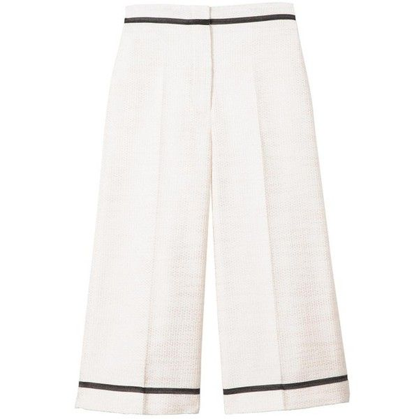 SemSem Samia Culottes ($875) ❤ liked on Polyvore featuring pants, capris, cream, cropped, tailored pants, white crop pants, high-waisted pants, high rise pants and high waisted trousers