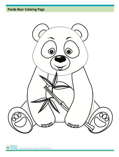 Panda Bear Coloring Page from SchoolFamily.com | Panda Bears ...