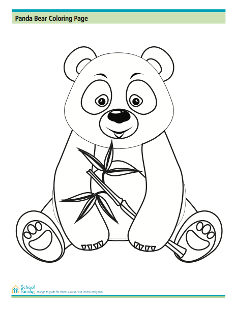 Panda Bear Coloring Page From Schoolfamily Com Bear Coloring Pages Panda Bear Crafts Panda Coloring Pages