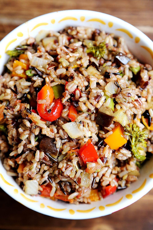 Hearty Whole Grain Rice with rainbow Vegetables Bake