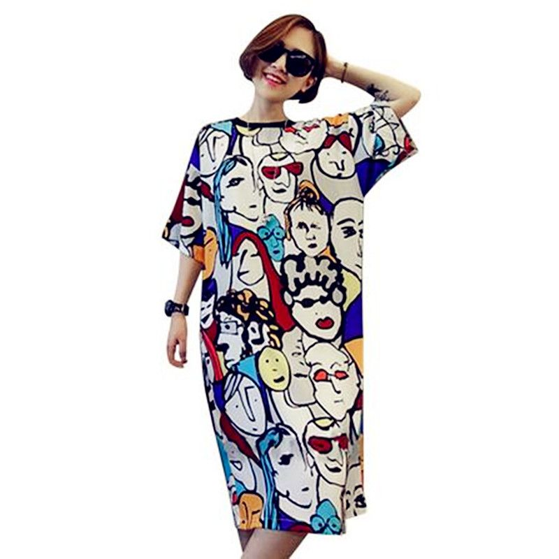 Plus size women dress 2017 new style cotton cartoon print long t shirt dress summer casual loose robe maxi party tshirt dresses-in Dresses from Women's Clothing & Accessories on Aliexpress.com | Alibaba Group