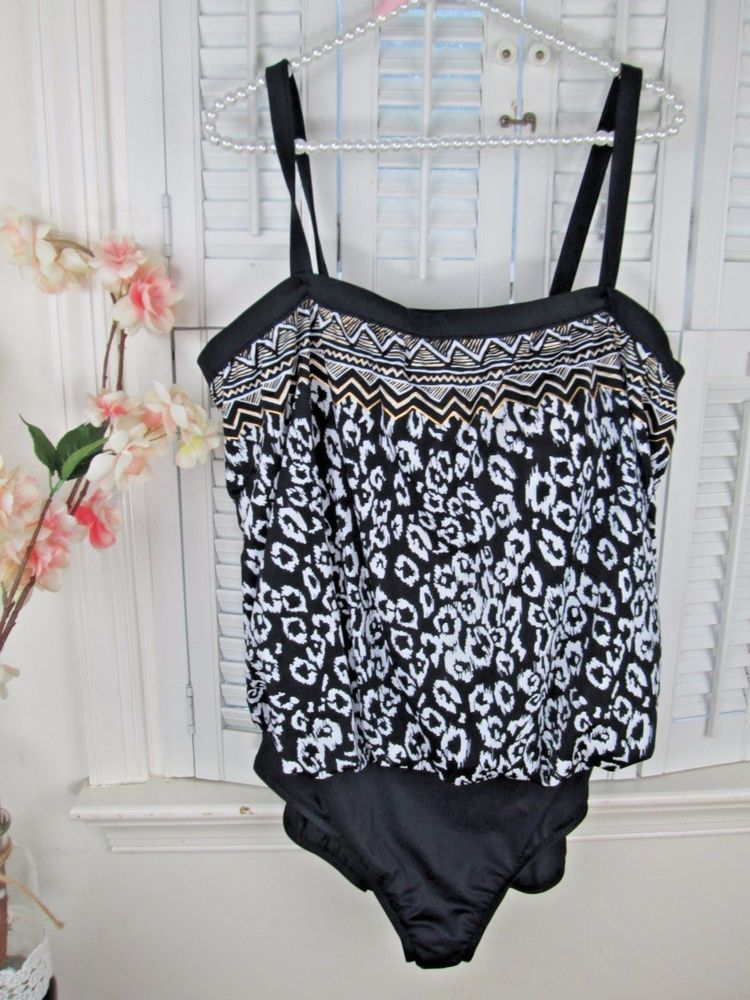 4a69206767 MAXINE OF HOLLYWOOD Leopard Print Black white gold Swimsuit PLUS Size 24W  NWOT  MaxineofHollywood  OnePiece