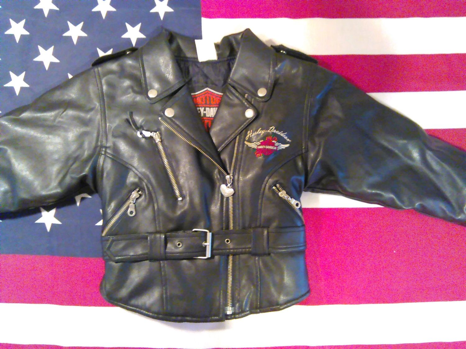 Leather jacket with roses - Harley Davidson Jacket Girl S Size 5 Faux Leather Embroidered Red Roses Belted Washable By Kellyssecretcloset