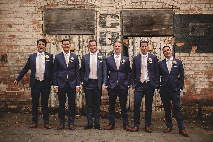 Navy blue suit and pink ties for groom and groomsmen | fabmood.com