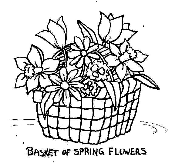 Put Spring Flowers in Basket of Flowers Coloring Pages | Flower basket, Spring flowers, Coloring ...