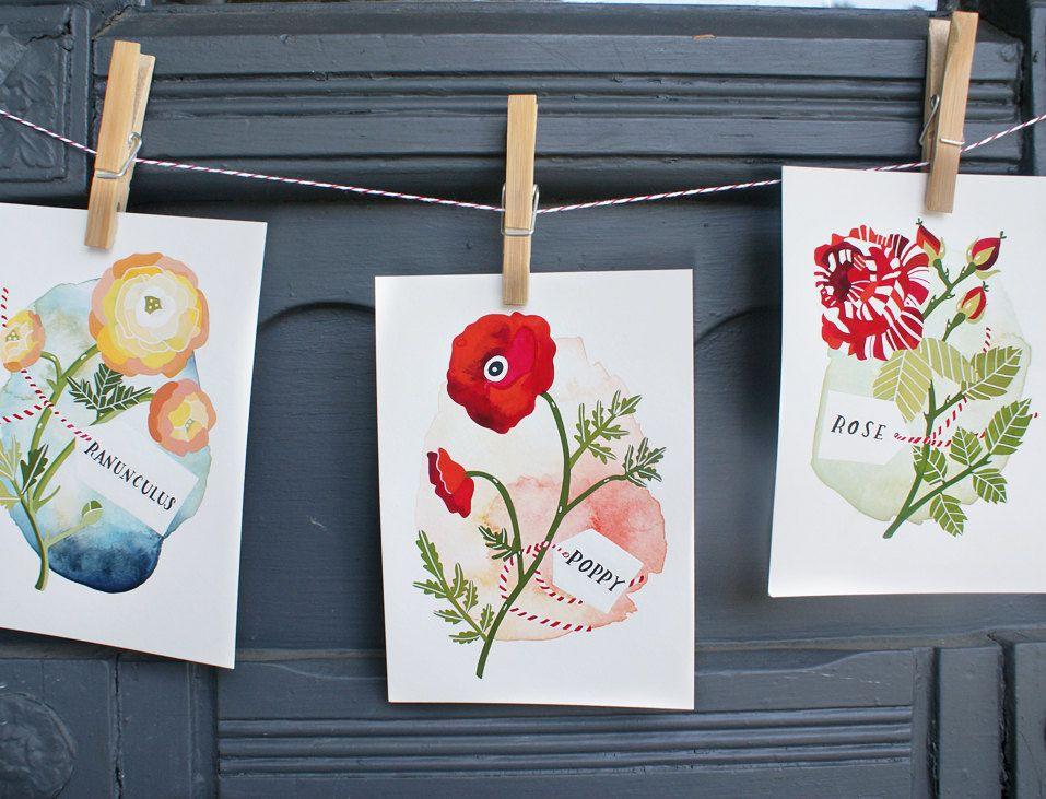 ranunculus, poppy, and rose prints.